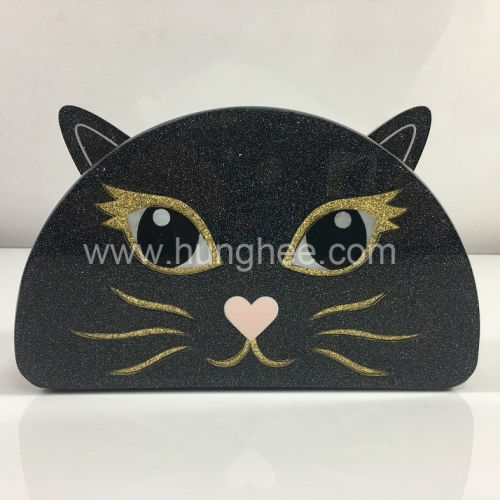 Half-moon CAT Shape Black Sparking Glitter Acrylic Box Clutch Evening Bags