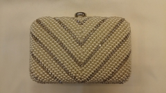 White Embroidered Beads and Crystal Evening Bags Box Clutches with Rhinestone Closure HH-BE12727