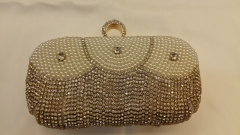 100% Handmade Embroidered Beads and Rhinestones Crystal Beaded Evening Bags with One-Ring Crystals Closure HH-BE12330