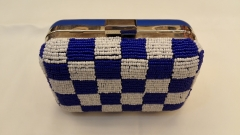 White and Blue Square Pattern Embroidered Beaded Evening Bags Box Clutches with Metal Closure HH-BE12819