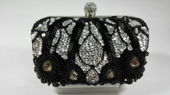 Handmade Beads and Sequins and Rhinestones Embroidered Beaded Evening Clutch Bags with Crystals Ball Clasp