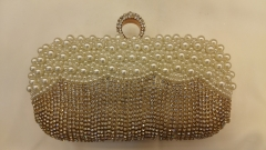 Handmade Beads and Rhinestones Embroidered Crystal Beaded Evening Bags with One-Ring Crystals Closure