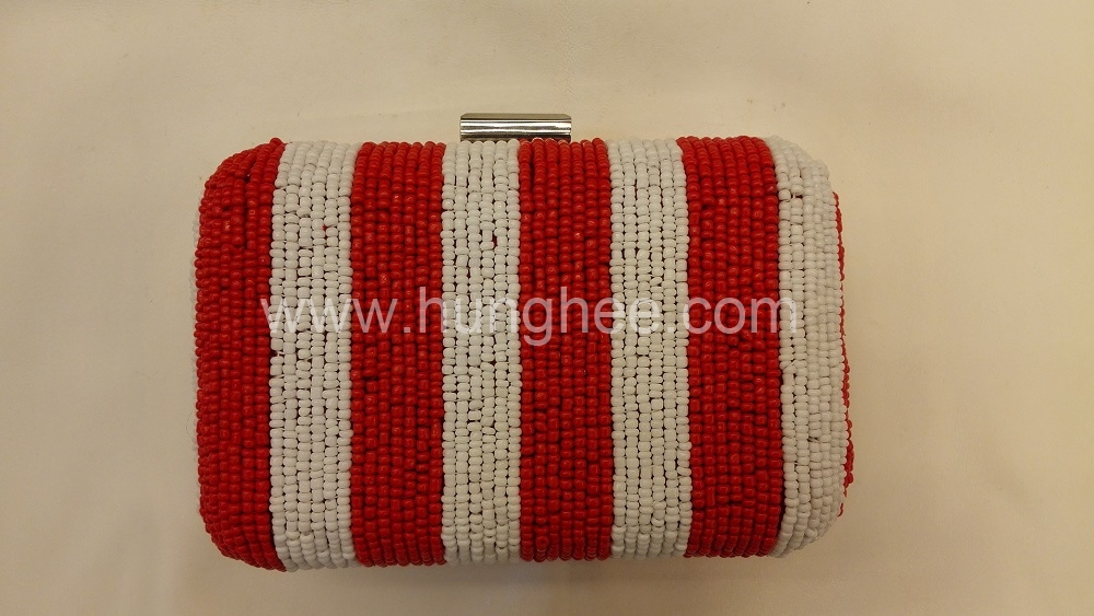 White and RED Vertical Bar Embroidered Beaded Evening Bags Box Clutches with Metal Clasp HH-BE12920