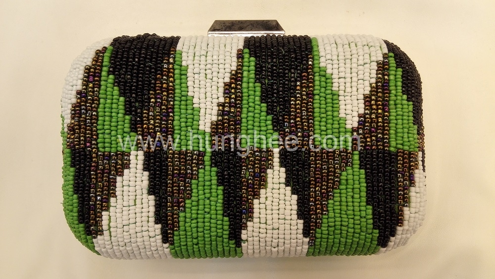 White Blue Black and Bronze Color Embroidered Beaded Evening Bags Box Clutches HH-BE13132