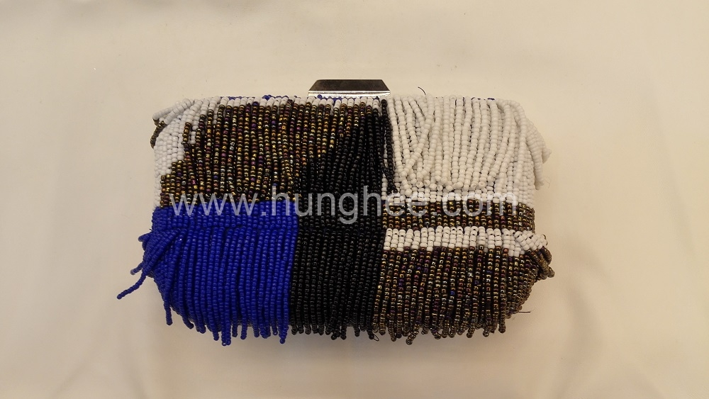 White Blue and Bronze Color Embroidered Beaded Evening Bags Box Clutches HH-BE13022
