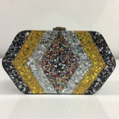 Hexagon Shape Metal Stars Glitter Acrylic Box Clutch Evening Bags with metal Closure