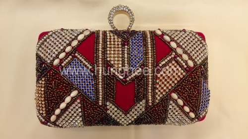 Embroidered Beads and Crystal Mesh Evening Bags Box Clutches with One-Ring Crystals Closure HH-BE12604