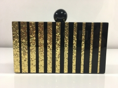 Black and Gold Glitter Vertical Stripes Acrylic Clutch Evening Bags Box Clutches