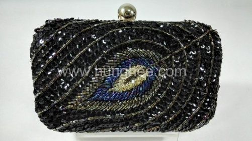 Peacock feather Pattern Handmade Beads Embroidered Beaded Evening Clutch Bags