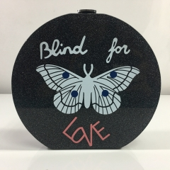 "Round Shape Black Sparking Glitter ""Blind to Love"" Acrylic Box Clutch Evening Bags"