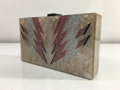 Zara Glitter Confetti Lightning Pattern Rectangle Pearl Acrylic Box Clutch Evening Bags