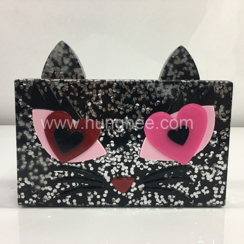 Cat Shape Three-dimensional Relief Silver Confetti Rectangle Acrylic Box Clutch Evening Bags
