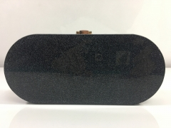 Oval Shape Black Acrylic Box Clutch with metal Closure