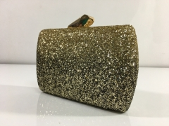 Gold Glitter Hard Case Evening Bags Box Clutches Gold-tone Plating Faced Metal Closure HH-GLT83561