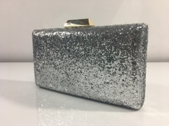 Silver Glitter Hard Case Evening Bags Box Clutches Gold-tone Plating Hardware HH-GLT83306