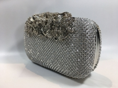 Silver Crystal Mesh Evening Bags with Flower branches Crystal Closure Rhodium Plating HH-CRM94208