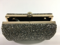 Gold-Tone Metal Frame Crystal Evening Bags with Ball Closure HH-CR83486