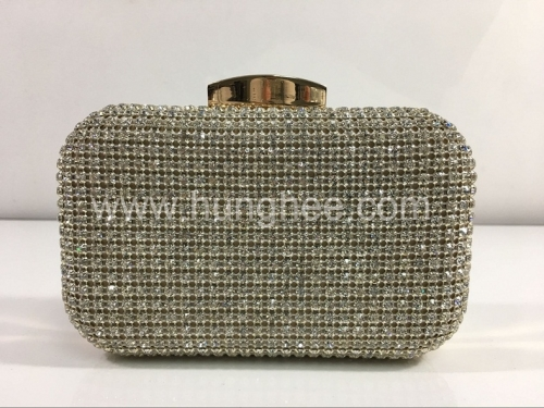 Clear Rhinestones Crystal Mesh Evening Bags Gold-tone Plating Box Clutch HH-RH7226