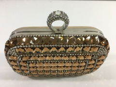 Champagne Diamond Rhinestones and Silver Crystals Evening Bags Box Clutches with One-ring Crystal Closure HH-RH83497