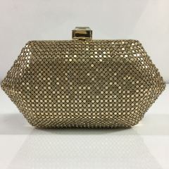 Gold-Tone Aluminum Metal Mesh and Clear Crystal Mesh Hexagon Crystal Rhinestones Evening Bags with Rhinestone Closure HH-CR83475