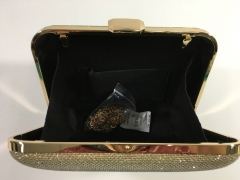 Gold Glitter Hard Case Evening Bags Box Clutches Gold-tone Plating Hardware HH-GLT83535