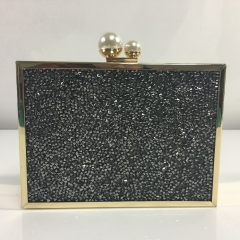 Rhinestones Crystal Evening Bags Box Clutches with Two-Pearls Closure HH-CR83276