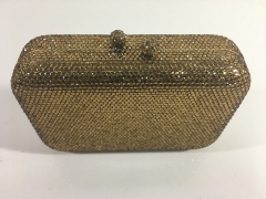 Gold Rhinestones Hot-fix Crystal Evening Bags Box Clutches with Crystals Ball Closure HH-CR83264