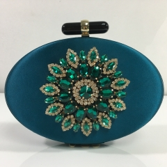 Blue Satin Fabric Evening Bags with Crystal Rhinestones Flower and Black Resin Closure HH-RH83480