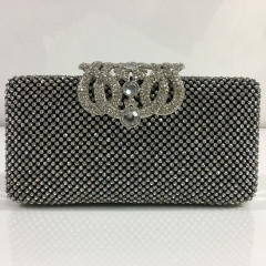 Clear Crystals with Gun-Metal Mesh Crystal Rhinestones Evening Bags with Crown Closure HH-CR83470