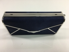 Navy Blue Satin Hard Case Evening Bags Box Clutches Rhodium Plating Alloy Metal Frame HH-HD83555