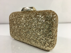 Gold Glitter Hard Case Evening Bags Box Clutches Gold-tone Plating Hardware HH-GLT83540