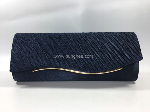 Bridal Navy Blue Pleated Satin Flap over Clutch Bags for Party Prom Wedding HH-SFC77405