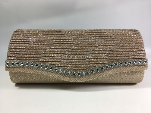 Bridal Gold Glitter Pleated Flap over Clutch Bags with Diamante Crystal for Party Prom Wedding HH-SSA35403