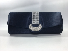 Bridal Silver Crystal Navy Blue Satin Flap over Clutch Bag for Party Prom Wedding HH-SFC40237