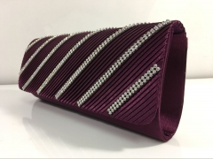 Diamante Pleated Satin Flapover Clutch Bag with White Crystal Chains HH-SFC9131