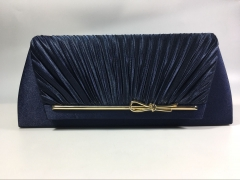 Bridal Pleated Navy Blue Flap over Clutch Bags with Metal Decorative Strips for Party Prom Wedding HH-SSA71540