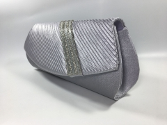 Bridal Pleated Grey Satin Diamante Flap over Clutch Bag for Party Prom Wedding HH-SFC10208