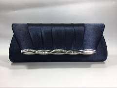 Navy Blue Pleated Satin Flapover Clutch Bag with Metal Decorative Strips HH-SFC9129
