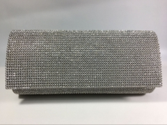 Bridal Silver Crystal Mesh Soft Flap over Clutch Bags for Wedding Prom Party HH-SSC30919