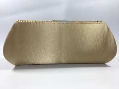 Bridal Diamante Pleated Gold Satin Flap over Clutch Bag for Party Prom Wedding HH-SFC10228