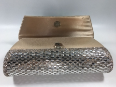 Bridal Diamante Silver Crystal Satin Flap over Clutch Bag for Party Prom Wedding HH-SFC33325
