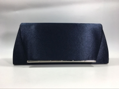 Navy Blue Satin Flapover Clutch Bag with Metal Decorative Strips HH-SFC9136