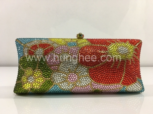 Full Diamond Crystal Evening Bag Flowers Crystal Evening Box Clutches IF-CE2089