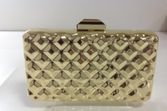 Gold Square Box Shell Full Metal Clutches Evening Bags with Rhinestone Closure HH-MT925