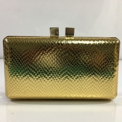 Factory Wholesale Women Clutch Bag Gold Faux PU Leather Clutch Evening Purses HH-PU83544