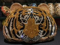 Hollow Out Metal Diamond Gold Tiger Face Crystal Jewelled Evening Bags IF-AN22611