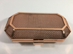 Rose-Gold Luxury Fashion Metal Mesh Clutches Evening Bag HH-M35056