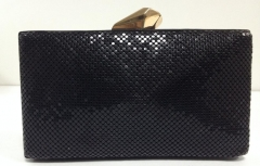 Metallic Box Clutches Minaudiere Black Metal Mesh Evening Bags HH-MT5016