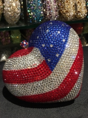 American Flag Pattern Luxury Heart Shaped Fully Crystal Evening Bag IF-CE25219