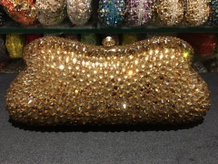 Wholesale Vintage Gold Beautiful Handmade Ladies Crystal Clutch Purse IF-CE52173